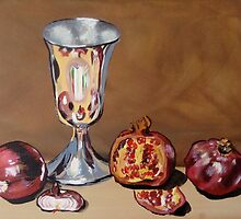 Silver Chalice with Fruit & Vegies by Julie Hollis