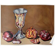 Silver Chalice with Fruit & Vegies Poster