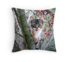playful kitty in tree Throw Pillow