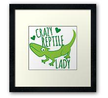 Crazy Lizard reptile Lady 2 Framed Print