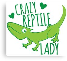 Crazy Lizard reptile Lady 2 Canvas Print