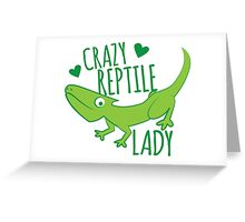 Crazy Lizard reptile Lady 2 Greeting Card