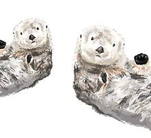 Sweet Loving Sea Otters Couple by triplestudio