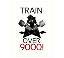 Train over 9000-BW Black Letters Art Print