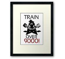 Train over 9000-BW Black Letters Framed Print