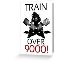 Train over 9000-BW Black Letters Greeting Card