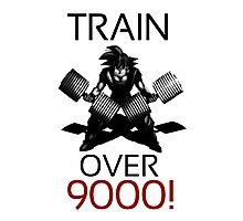 Train over 9000-BW Black Letters Photographic Print