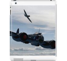 World War 2 Print Battle of Britain - Junkers Ju 88 shadowed by a Spitfire - WW2 iPad Case/Skin