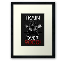 Train over 9000-BW White Letters Framed Print