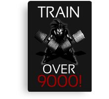 Train over 9000-BW White Letters Canvas Print
