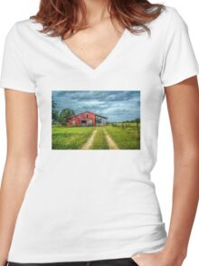 Red Barn Rustic Women's Fitted V-Neck T-Shirt