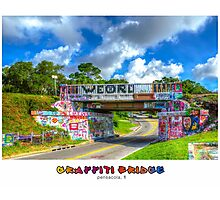 Graffiti Bridge - A Pensacola Landmark (wText) Photographic Print