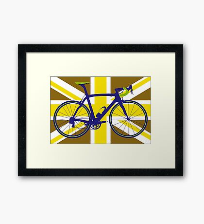 Bike Flag United Kingdom (Gold) (Big - Highlight) Framed Print