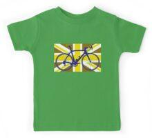 Bike Flag United Kingdom (Gold) (Big - Highlight) Kids Tee