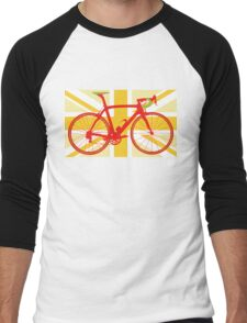 Bike Flag United Kingdom (Yellow) (Big - Highlight) Men's Baseball ¾ T-Shirt