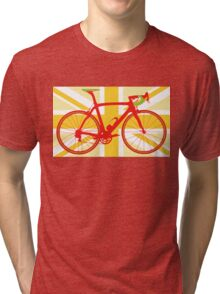 Bike Flag United Kingdom (Yellow) (Big - Highlight) Tri-blend T-Shirt