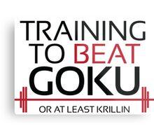 Training to beat Goku - Krillin - Black Letters Metal Print