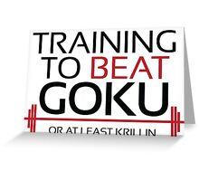 Training to beat Goku - Krillin - Black Letters Greeting Card