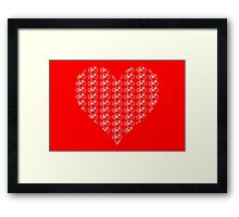 Bike Heart (Red-White) (Small) Framed Print