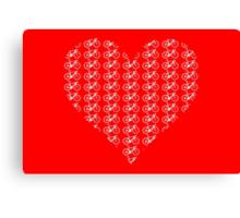 Bike Heart (Red-White) (Small) Canvas Print