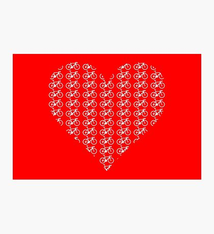 Bike Heart (Red-White) (Small) Photographic Print