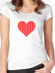 Bike Heart (Red-White) (Small) Women's Fitted Scoop T-Shirt