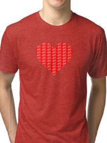 Bike Heart (Red-White) (Small) Tri-blend T-Shirt