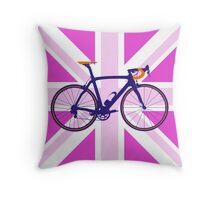 Bike Flag United Kingdom (Pink) (Big - Highlight) Throw Pillow
