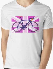 Bike Flag United Kingdom (Pink) (Big - Highlight) Mens V-Neck T-Shirt