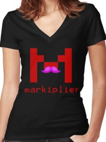 Markiplier Logo With Pink Mustache! Women's Fitted V-Neck T-Shirt
