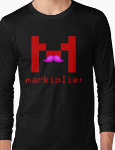 Markiplier Logo With Pink Mustache! Long Sleeve T-Shirt