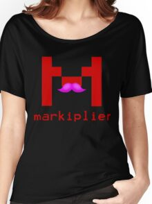 Markiplier Logo With Pink Mustache! Women's Relaxed Fit T-Shirt