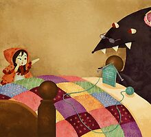 Little Red and the wolf in Grandma's house. by katiecrumpton