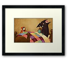 Little Red and the wolf in Grandma's house. Framed Print