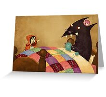 Little Red and the wolf in Grandma's house. Greeting Card
