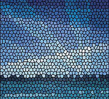 Mosaic abstract sea or ocean shore  by Ryna Synentchenko