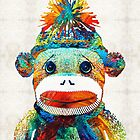 Sock Monkey Art - Your New Best Friend - By Sharon Cummings by Sharon Cummings