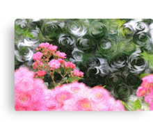 Painterly Pink Wild Roses with Green White Swirls Canvas Print