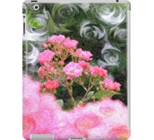 Painterly Pink Wild Roses with Green White Swirls iPad Case/Skin