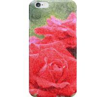 Painterly Red English Roses with Green Swirls iPhone Case/Skin