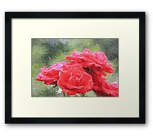 Painterly Red English Roses with Green Swirls Framed Print