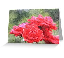 Painterly Red English Roses with Green Swirls Greeting Card