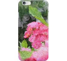 Painterly Pink Wild Roses with Green White Swirls 2 iPhone Case/Skin