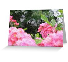 Painterly Pink Wild Roses with Green White Swirls 2 Greeting Card