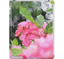 Painterly Pink Wild Roses with Green White Swirls 2 iPad Case/Skin