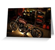 bike in the garage under construction Greeting Card