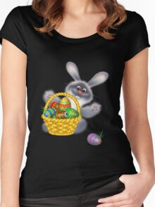 Easter Bunny With Egg Basket Women's Fitted Scoop T-Shirt