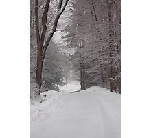 Rural Road in Snow Storm Photographic Print