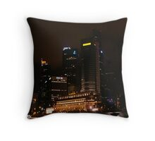 Central Business District Night Scene in Singapore Throw Pillow
