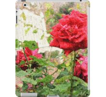 Beautiful Red English Roses with White Bench iPad Case/Skin